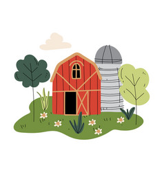 Red wooden barn and silo tower farm buildings vector