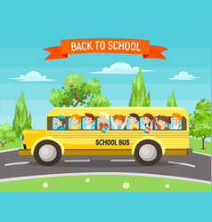 school kids in bus vector image