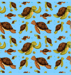 sea turtle seamless pattern vector image