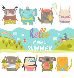 set cute animals with summer theme on white vector image