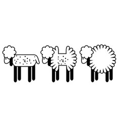 Set of 3 lambs with different shapes vector
