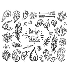 Set of Ornamental Boho Style Elements vector image