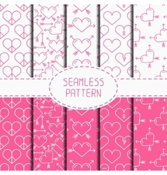 Set of pink romantic geometric seamless pattern vector image