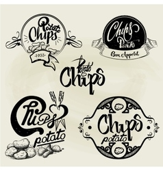 Set of potato chips labels design elements vector