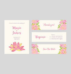 set of wedding party invitation save the date vector image