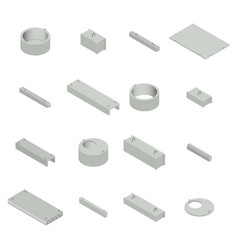 set the iron concrete products isometric vector image