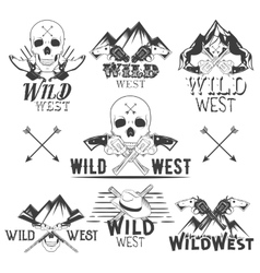set wild west badges isolated emblems vector image
