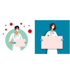 set woman doctor with blank vector image