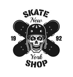 skull and two crossed skateboards emblem vector image