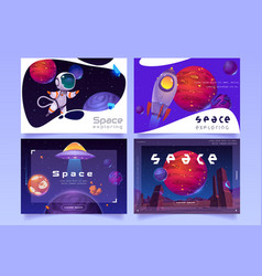 Space exploring posters with rocket and astronaut vector