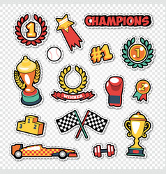 Sport trophy winner stickers set with medals vector