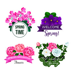 spring time greeting quotes flowers design vector image