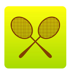 tennis racquets sign brown icon at green vector image