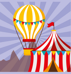 tent and hot air balloon carnival fun fair vector image