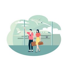 time to travel couple with baggage in airport vector image