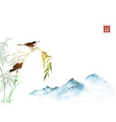 Two cicadas bamboo branch and far blue mountains vector