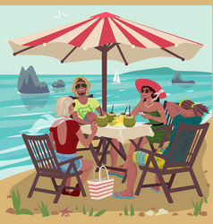 two couples eating on tropical beach vector image