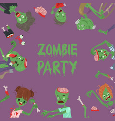 vecctor zombie cartoon halloween magic people body vector image