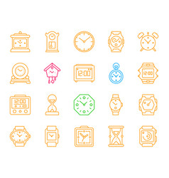 watch simple color line icons set vector image