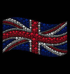 Waving united kingdom flag mosaic of dotted arrow vector