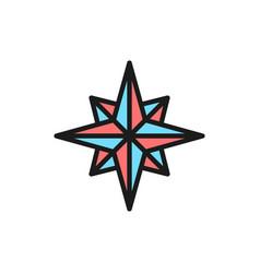 wind rose compass navigation flat color line vector image