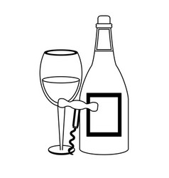 wine and gastronomy concept black and white vector image