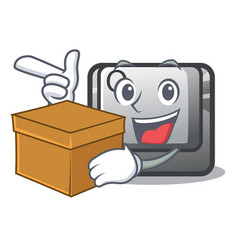 With box q button on cartoon keyboard vector