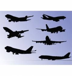 airplane silhouettes vector image vector image