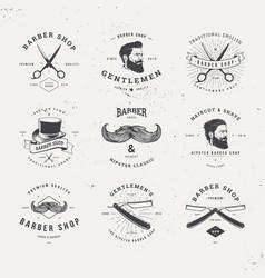 barber shop logo set vector image vector image