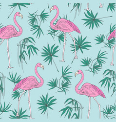 beautiful tropical seamless pattern with pink vector image