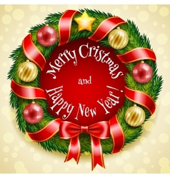 Christmas wreath on a golden background vector image vector image
