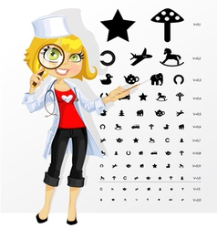 Cute doctor shows childrens table for eye tests vector image vector image