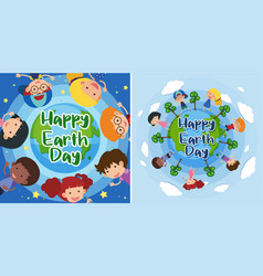 happy earth day with happy kids on earth vector image