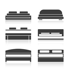 Set of black silhouettes bed vector image vector image