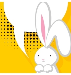 White cute rabbit comic bubble vector image