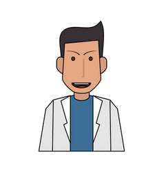 Colorful silhouette half body caricature doctor vector