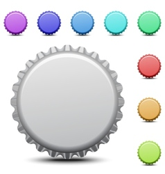 Realistic colorful bottle caps vector image vector image