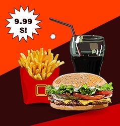 Burger fries and cola vector image