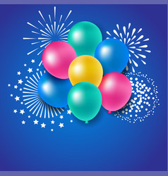 colorful balloons with fireworks for celebration vector image vector image