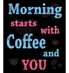colorful poster with words about coffee vector image vector image