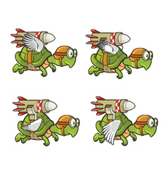 Flying Turtle with Rocket vector image