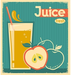 red apple juice on old paper vintage card vector image vector image