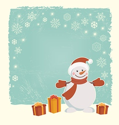 Retro Christmas card with snowman vector image