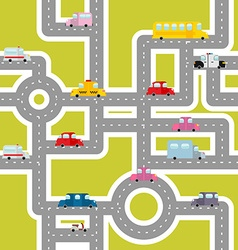 Road and transport seamless pattern Cartoon map of vector image vector image