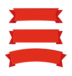set of red ribbons on white background vector image