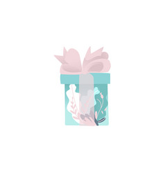 beautiful blue gift box wrapped in decorative vector image