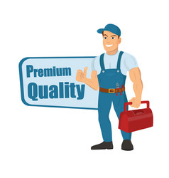 happy cartoon repairman or construction worker and vector image