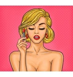 Pop art woman paints her lips vector image vector image