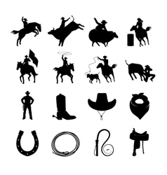 Rodeo Black Icons Set vector image vector image