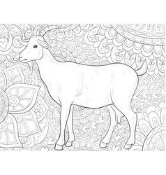 adult coloring bookpage a cute goat on the vector image